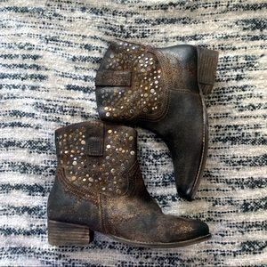Shoes - Diba Ankle Distressed Boots with Metal Details